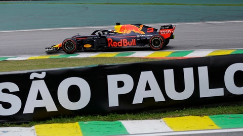 <p>               Red Bull driver Daniel Ricciardo, of Australia, steers during the first free practice at the Interlagos race track in Sao Paulo, Brazil, Friday, Nov. 9, 2018. (AP Photo/Nelson Antoine)             </p>