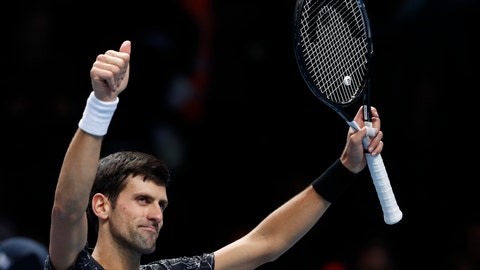 <p>               FILE - In this Wednesday, Nov. 14, 2018, file photo, Novak Djokovic, of Serbia celebrates, after defeating Alexander Zverev, of Germany, in the ATP World Tour Finals men's singles tennis match at the O2 arena in London. Novak Djokovic, Rafael Nadal and Roger Federer are the top three in the year-end ATP rankings for the first time since 2014. It is the seventh time that trio of tennis greats is 1-2-3 to close a season.  (AP Photo/Alastair Grant, File)             </p>