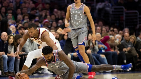 <p>               Philadelphia 76ers' Amir Johnson, right, dives for the loose ball before Cleveland Cavaliers' Rodney Hood, left, could get it during the first half of an NBA basketball game, Friday, Nov. 23, 2018, in Philadelphia. (AP Photo/Chris Szagola)             </p>