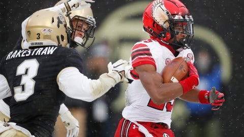 <p>               Utah wide receiver Jaylen Dixon, right, runs for a touchdown after pulling in a pass while covered by Colorado defensive backs Derrion Rakestraw, front left, and Dante Wigley in the second half of an NCAA college football game Saturday, Nov. 17, 2018, in Boulder, Colo. Utah won 30-7. (AP Photo/David Zalubowski)             </p>