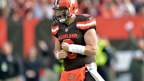 <p>               FILE - In this Sunday, Nov. 4, 2018, file photo, Cleveland Browns quarterback Baker Mayfield (6) reacts during an NFL football game against the Kansas City Chiefs in Cleveland. As Cleveland hit its bye week, and with six games left in a season going nowhere, optimism overflowed around a franchise that has had little to celebrate over the past 25 years.  (AP Photo/David Richard, File)             </p>