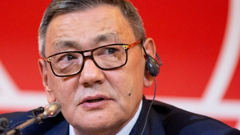 <p>               The new president of the amateur boxing federation Gafur Rakhimov speaks to the media upon becoming the head of AIBA in Moscow, Russia, Saturday, Nov. 3, 2018. Rakhimov, an Uzbek businessman who has been accused of ties to organized crime was elected president of the amateur boxing federation on Saturday, putting the sport on a collision course with the International Olympic Committee. (AP Photo/Alexander Zemlianichenko)             </p>