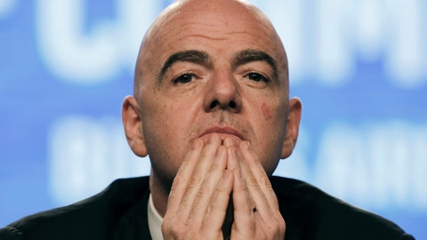 "<p>               FILE - In this April 12, 2018 file photo, FIFA President Gianni Infantino participates in the annual conference of the South American Football Confederation, CONMEBOL, in Buenos Aires, Argentina. Infantino has asked the emir of Qatar to consider co-hosting the next World Cup with several nations that are attempting to isolate the tiny desert country in a bitter diplomatic dispute. Qatar has just eight stadiums to host 64 games over an already-congested 28-day window in 2022. Expanding the field to 48 teams would mean 80 games, requiring more stadiums. Infantino says using venues in Saudi Arabia and around the Persian Gulf ""would probably be a nice message.""  (AP Photo/Martin Ruggiero, File)             </p>"
