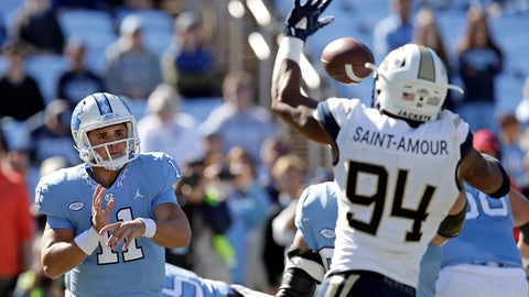 <p>               FILE - In this Saturday, Nov. 3, 2018, file photo, North Carolina quarterback Nathan Elliott (11) has a pass blocked by Georgia Tech's Anree Saint-Amour (94) during the first half of an NCAA college football game in Chapel Hill, N.C. Saint-Amour, coming off a big game in a win over North Carolina, is a big reason the Yellow Jackets rank among the nation's leaders in turnovers forced as they prepare to play Miami on Saturday. (AP Photo/Gerry Broome, File)             </p>