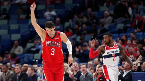 <p>               New Orleans Pelicans forward Nikola Mirotic (3) reacts after sinking a 3-point basket in the first half of an NBA basketball game against the Washington Wizards in New Orleans, Wednesday, Nov. 28, 2018. (AP Photo/Gerald Herbert)             </p>
