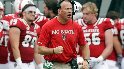 <p>               FILE - In this Oct. 6, 2018, file photo, North Carolina State coach Dave Doeren reacts during the second half the team's NCAA college football game against Boston College in Raleigh, N.C. Doeren's team hosts East Carolina on Saturday in a game added to the schedule after a September game against West Virginia was canceled due to Hurricane Florence. (AP Photo/Gerry Broome, File)             </p>