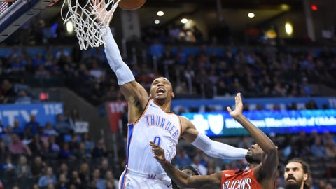 <p>               Oklahoma City Thunder guard Russell Westbrook (0) puts up a shot over New Orleans Pelicans forward E'Twaun Moore (55) in the second half of an NBA basketball game in Oklahoma City, Monday, Nov. 5, 2018. (AP Photo/Kyle Phillips)             </p>