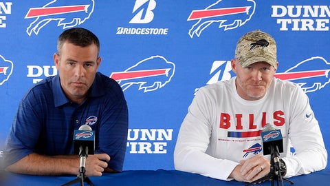 <p>               FILE - In this July 26, 2018 file photo Buffalo Bills general manager Brandon Beane, left, and coach Sean McDermott speak to the media at the NFL football team's training camp in Pittsford, N.Y. With little money to spend and few impact players interested in signing with the Bills given the uncertainty at quarterback this past offseason, Beane understood Buffalo's offense was going to endure its struggles. (AP Photo/Adrian Kraus, file)             </p>