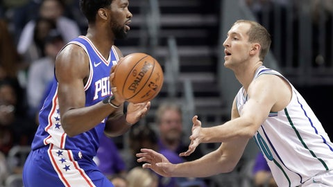 <p>               Philadelphia 76ers' Joel Embiid, left, drives against Charlotte Hornets's Cody Zeller during the first half of an NBA basketball game in Charlotte, N.C., Saturday, Nov. 17, 2018. (AP Photo/Chuck Burton)             </p>