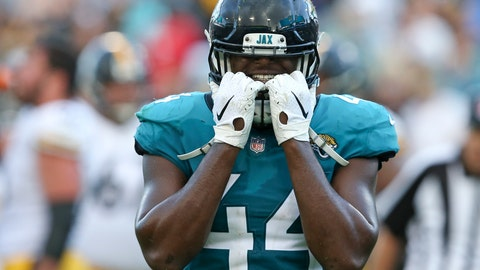 <p>               Jacksonville Jaguars middle linebacker Myles Jack (44) reacts after Pittsburgh Steelers quarterback Ben Roethlisberger scored a go-ahead touchdown during the final seconds of an NFL football game, Sunday, Nov. 18, 2018, in Jacksonville, Fla. (AP Photo/Gary McCullough)             </p>