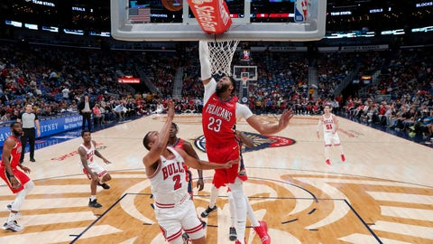 <p>               New Orleans Pelicans forward Anthony Davis (23) tries to block a shot by Chicago Bulls forward Jabari Parker (2) during the first half of an NBA basketball game in New Orleans, Wednesday, Nov. 7, 2018. (AP Photo/Gerald Herbert)             </p>