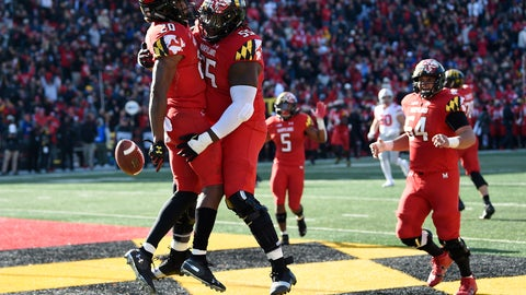 <p>               FILE - In this Saturday, Nov. 17, 2018, file photo, Maryland running back Javon Leake (20) celebrates his touchdown with offensive linemen Derwin Gray (55) and Spencer Anderson (54) during the first half of an NCAA football game against Ohio State in College Park, Md. No matter how Maryland fares in the regular season finale against No. 15 Penn State, it won't change the pride that interim coach Matt Canada feels about the way his players have performed under extremely difficult circumstances. (AP Photo/Nick Wass, File)             </p>