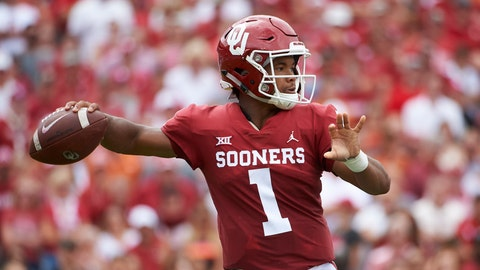 <p>               FILE - In this Oct. 6, 2018, file photo, Oklahoma quarterback Kyler Murray (1) throws a pass against Texas during the first half of an NCAA college football game at the Cotton Bowl in Dallas. The Texas-Oklahoma rivalry is never short on bad blood between the Big 12 border states. (AP Photo/Cooper Neill, File)             </p>
