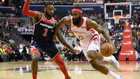 <p>               Houston Rockets guard James Harden (13) dribbles the ball against Washington Wizards guard John Wall (2) during the first half of an NBA basketball game, Monday, Nov. 26, 2018, in Washington. (AP Photo/Nick Wass)             </p>