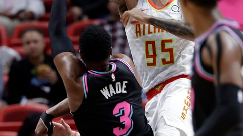 <p>               Miami Heat guard Dwyane Wade (3) shoots as Atlanta Hawks forward DeAndre' Bembry (95) defends during the first half of an NBA basketball game, Tuesday, Nov. 27, 2018, in Miami. (AP Photo/Lynne Sladky)             </p>