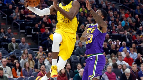 <p>               Indiana Pacers guard Tyreke Evans, left, drives to the basket as Utah Jazz forward Royce O'Neale, right, defends in the first half during an NBA basketball game Monday Nov. 26, 2018, in Salt Lake City. (AP Photo/Rick Bowmer)             </p>