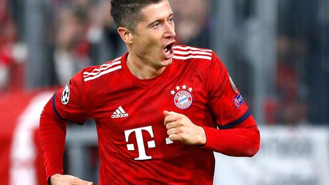 <p>               Bayern forward Robert Lewandowski celebrates his side's second goal during the Champions League group E soccer match between FC Bayern Munich and AEK Athen in Munich, Germany, Wednesday, Nov. 7, 2018. (AP Photo/Matthias Schrader)             </p>