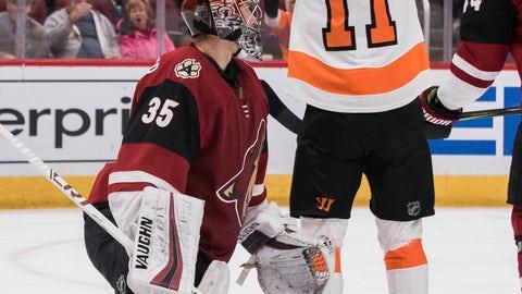 <p>               Philadelphia Flyers' Travis Konecny (11) celebrates his goal against the Arizona Coyotes goalie Darcy Kuemper (35) the first period of an NHL hockey game Monday, Nov. 5, 2018, in Glendale, Ariz. (AP Photo/Darryl Webb)             </p>