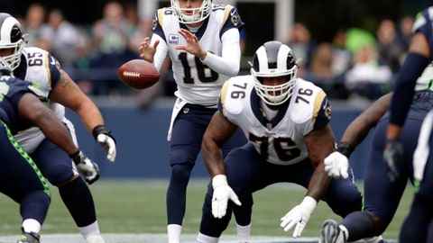 <p>               FILE - In this Sunday, Oct. 7, 2018, file photo, Los Angeles Rams quarterback Jared Goff takes a snap as guard Rodger Saffold (76) prepares to block against the Seattle Seahawks during the first half of an NFL football game in Seattle. Andrew Whitworth and Rodger Saffold have helped make the Los Angeles Rams an overwhelming pick as the team with the NFL's best offensive line in voting by a panel of 10 football writers for The Associated Press. (AP Photo/Scott Eklund, File)             </p>