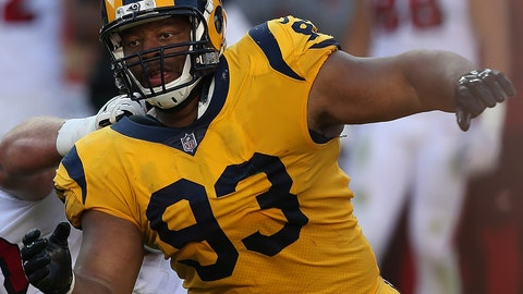 <p>               FILE - In this Oct. 21, 2018, file photo, Los Angeles Rams defensive tackle Ndamukong Suh (93) defends a play against the San Francisco 49ers during an NFL football game in Santa Clara, Calif. Suh will face the Detroit Lions for the first time, a win away from the first division title of his career. (Daniel Gluskoter/AP Photo, File)             </p>