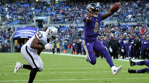 <p>               FILE - In this Nov. 25, 2018, file photo, Baltimore Ravens quarterback Lamar Jackson (8) scores a touchdown in front of Oakland Raiders linebacker Jason Cabinda during the second half of an NFL football game in Baltimore. With Jackson poised for his possible first road start, the Ravens will look for their third straight win when they face the Atlanta Falcons, who have lost three straight, on Sunday. (AP Photo/Nick Wass, File)             </p>