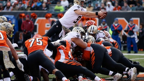 <p>               New Orleans Saints quarterback Drew Brees (9) dives in for a touchdown in the second half of an NFL football game, Sunday, Nov. 11, 2018, in Cincinnati. (AP Photo/Gary Landers)             </p>