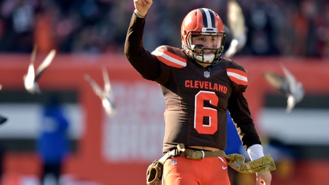 <p>               FILE -In this Sunday, Nov. 11, 2018, file photo, Cleveland Browns quarterback Baker Mayfield (6) celebrates a touchdown in the second quarter of a 28-16 win over the Atlanta Falcons in an NFL football game in Cleveland. Mayfield had a November to remember, completing 74 percent of his passes while leading the Browns (4-6-1) to two wins and the edge of playoff possibilities. (AP Photo/David Richard, File)             </p>
