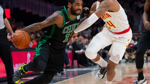 <p>               Boston Celtics guard Kyrie Irving, left, tries to drive past Atlanta Hawks guard Kent Bazemore during the first half of an NBA basketball game Friday, Nov. 23, 2018, in Atlanta. (AP Photo/John Amis)             </p>