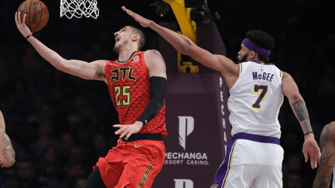<p>               Atlanta Hawks' Alex Len (25) drives past Los Angeles Lakers' JaVale McGee during the first half of an NBA basketball game Sunday, Nov. 11, 2018, in Los Angeles. (AP Photo/Marcio Jose Sanchez)             </p>