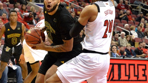 <p>               Vermont forward Anthony Lamb (3) attempts to drive around Louisville forward Dwayne Sutton (24) during the first half of an NCAA college basketball game, in Louisville, Ky., Friday, Nov. 16, 2018. (AP Photo/Timothy D. Easley)             </p>