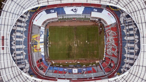 <p>               Mexico's Azteca Stadium is seen from above in Mexico City, Tuesday, Nov. 13, 2018. The NFL has moved the Los Angeles Rams' Monday night showdown with the Kansas City Chiefs from Mexico City to Los Angeles due to the poor condition of the field at Azteca Stadium. (AP Photo/Christian Palma)             </p>