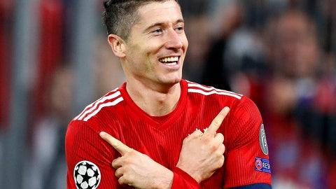 <p>               Bayern forward Robert Lewandowski celebrates his side's second goal during the Champions League group E soccer match between FC Bayern Munich and AEK Athen in Munich, Germany, Wednesday, Nov. 7, 2018. (AP Photo/Matthias Schrader)             </p>