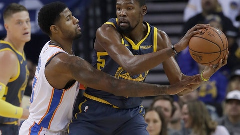 <p>               Golden State Warriors forward Kevin Durant, right, is guarded by Oklahoma City Thunder forward Paul George during the first half of an NBA basketball game in Oakland, Calif., Wednesday, Nov. 21, 2018. (AP Photo/Jeff Chiu)             </p>