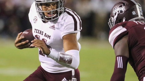 <p>               Texas A&M quarterback Kellen Mond (11) sprints for additional yardage while trying to avoid the tackle by Mississippi State cornerback Jamal Peters (2) during the first half of their NCAA college football game on Saturday, Oct. 27, 2018, in Starkville, Miss. (AP Photo/Jim Lytle)             </p>