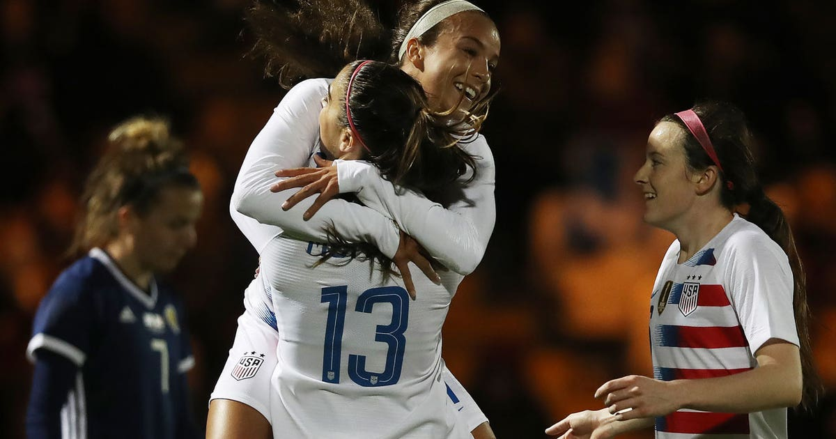 Alex Morgan's stunning volley puts USWNT ahead against Scotland   Women's International Friendly Highlights