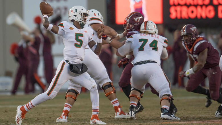 N'Kosi Perry helps Miami snap losing streak with 38-14 win over Virginia Tech