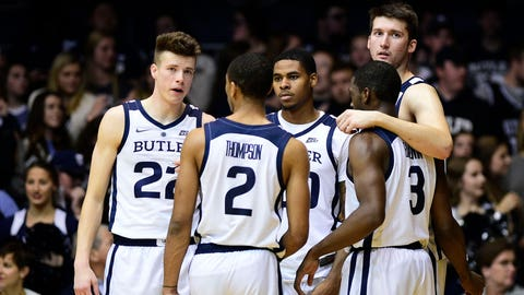 Nov 10, 2018; Indianapolis, IN, USA; The Butler starting five get ready to take the court after a timeout against Miami (Ohio) at Hinkle Fieldhouse. Mandatory Credit: Thomas J. Russo-USA TODAY Sports