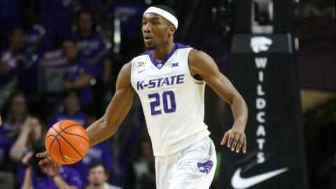 Jan 16, 2018; Manhattan, KS, USA; Kansas State Wildcats forward Xavier Sneed (20) brings the ball up the court during a game against the Oklahoma Sooners at Bramlage Coliseum. The Wildcats won the game 87-69. Mandatory Credit: Scott Sewell-USA TODAY Sports