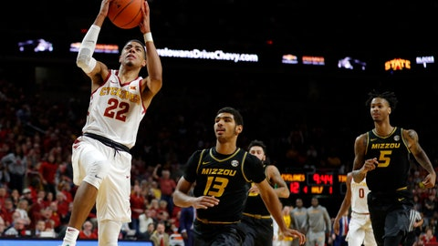 Iowa State guard Tyrese Hailburton (22) drives to the basket ahead of Missouri's Mark Smith (13) and Mitchell Smith (5) during the first half of an NCAA college basketball game, Friday, Nov. 9, 2018, in Ames, Iowa. (AP Photo/Charlie Neibergall)