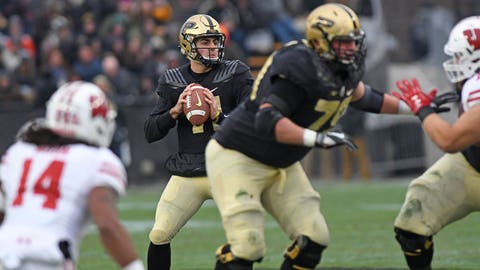 Nov 17, 2018; West Lafayette, IN, USA; Purdue  quarterback David Blough (11) drops back to pass in the first half against Wisconsin Badgers at Ross-Ade Stadium. Mandatory Credit: Thomas J. Russo-USA TODAY Sports