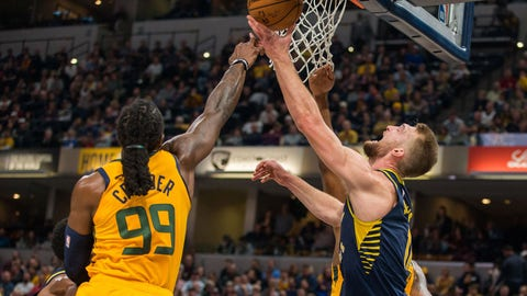 Nov 19, 2018; Indianapolis, IN, USA; Indiana Pacers forward Domantas Sabonis (11) shoots the ball while Utah Jazz forward Jae Crowder (99) defends in the second quarter at Bankers Life Fieldhouse. Mandatory Credit: Trevor Ruszkowski-USA TODAY Sports