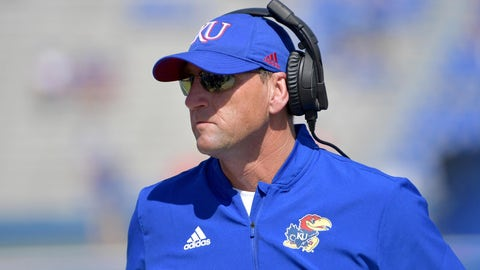 Sep 15, 2018; Lawrence, KS, USA; Kansas Jayhawks head coach David Beaty watches play on the sidelines during the second half against the Rutgers Scarlet Knights at Memorial Stadium. Kansas won 55-14. Mandatory Credit: Denny Medley-USA TODAY Sports