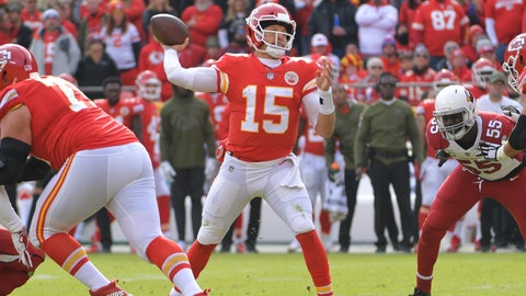 Nov 11, 2018; Kansas City, MO, USA; Kansas City Chiefs quarterback Patrick Mahomes (15) throws a pass during the first half against the Arizona Cardinals at Arrowhead Stadium. Mandatory Credit: Denny Medley-USA TODAY Sports