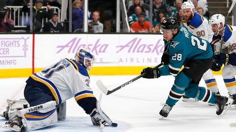 St. Louis Blues goaltender Chad Johnson (31) makes a save against San Jose Sharks right wing Timo Meier (28) during the first period of an NHL hockey game in San Jose, Calif., Saturday, Nov. 17, 2018. (AP Photo/Tony Avelar)