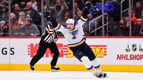 Nov 30, 2018; Denver, CO, USA; St. Louis Blues defenseman Colton Parayko (55) celebrates his  overtime winning goal against the Colorado Avalanche at the Pepsi Center. Mandatory Credit: Ron Chenoy-USA TODAY Sports