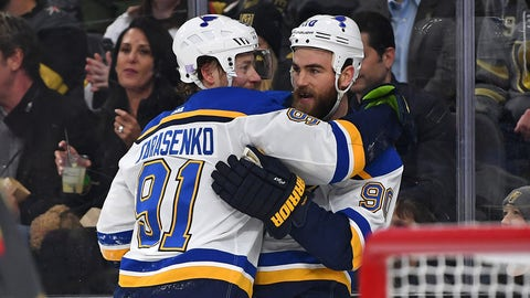Nov 16, 2018; Las Vegas, NV, USA; St. Louis Blues center Ryan O'Reilly (90) celebrates with right wing Vladimir Tarasenko (91) after scoring a first period goal against the Vegas Golden Knights at T-Mobile Arena. Mandatory Credit: Stephen R. Sylvanie-USA TODAY Sports