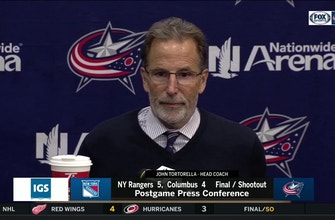 John Tortorella is disappointed, but not discouraged with the Blue Jackets' shoot-out loss