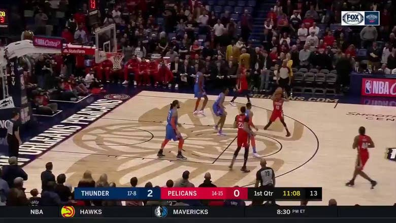 WATCH: Anthony Davis, Jrue Holiday help Pels top Thunder 118-114