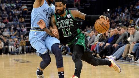 <p>               Boston Celtics guard Kyrie Irving (11) drives against Memphis Grizzlies guard Garrett Temple (17) during the second half of an NBA basketball game Saturday, Dec. 29, 2018, in Memphis, Tenn. (AP Photo/Brandon Dill)             </p>