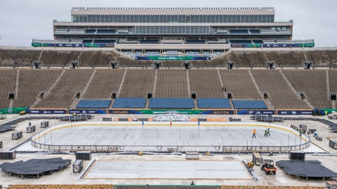 <p>               In this Dec. 21, 2018, photo, crews work to set up a hockey rink and staging for the NHL Winter Classic game between the Chicago Blackhawks and the Boston Bruins at Notre Dame Stadium in South Bend, Ind. Just three days after Notre Dame lost in the College Football Playoff, the longtime home of the Fighting Irish hosts the NHL's sixth regular-season game in Indiana. It also becomes the second college to welcome the traveling circus that is the Winter Classic, joining the University of Michigan in 2014. (Robert Franklin/South Bend Tribune via AP)             </p>